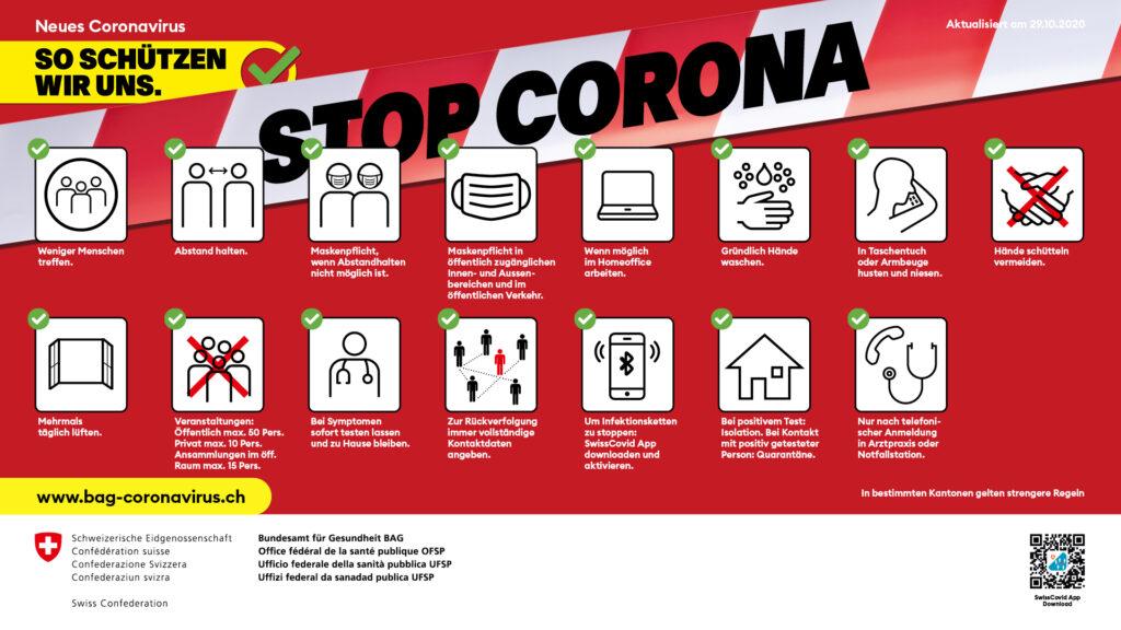 BAG Verhaltensregeln und Massnahmen gegen die Verbreitung von Corona.